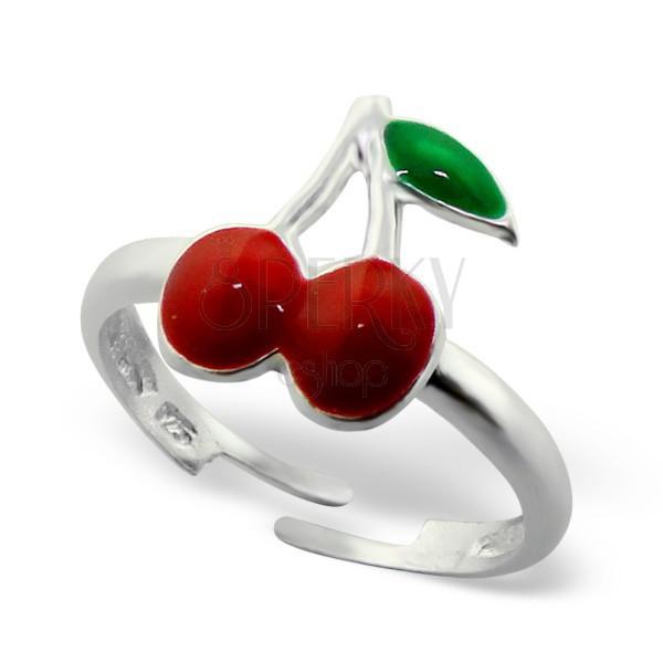 Gyermek gyűrű, 925 ezüst - cseresznye