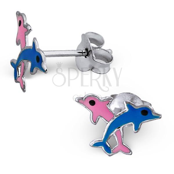 Fülbevaló 925 ezüstből - rózsaszín és kék delfin