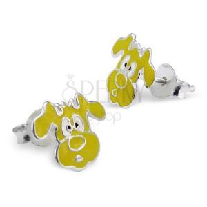 Gyermek fülbevaló sterling ezüstből - sárga kutyus