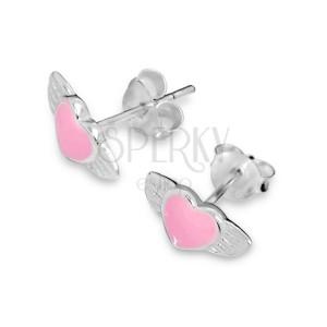 Beszúrós fülbevaló, 925 ezüst - rózsaszín szárnyas szív