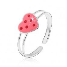 925 ezüst gyűrű - rózsaszín fénymázas szív piros pöttyökkel
