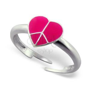 Gyűrű 925 ezüstből - rózsaszín szív, Peace