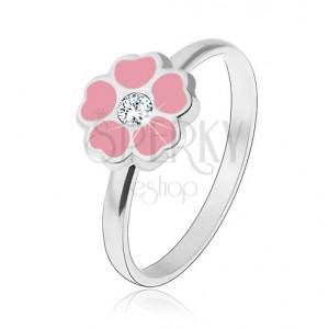 Gyermek gyűrű 925 ezüstből - rózsaszín virág, cirkónia
