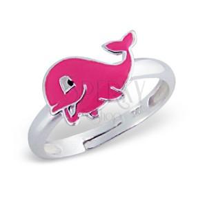 Gyűrű gyermekeknek, 925 ezüst - dundi rózsaszín delfin