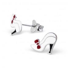 Ezüst 925 fülbevaló kislányoknak - cipő piros masnival