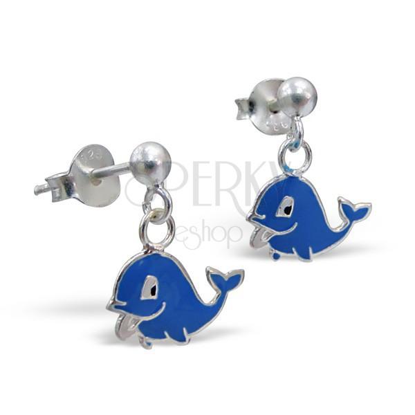 Ezüst 925 fülbevaló - függő, vidám delfin