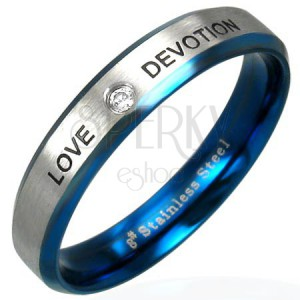 LOVE DEVOTION nemesacél gyűrű cirkónia kővel