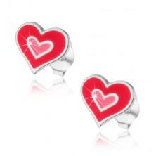Ezüst 925 bedugós fülbevaló - kettős szív
