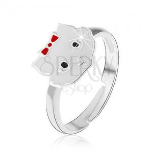 Kislány gyűrű - 925 ezüst, fehér cica
