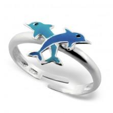 Gyermek gyűrű 925 ezüstből - delfinek kereszt alakban