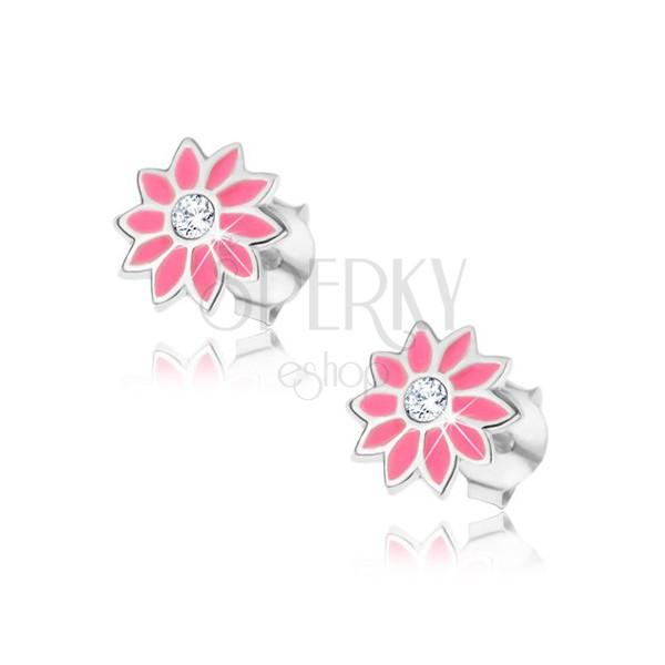 Fülbevaló 925 ezüstből - cirkóniaköves rózsaszín virág