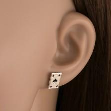 925 - ös ezüst fülbevaló, treff kártyalap