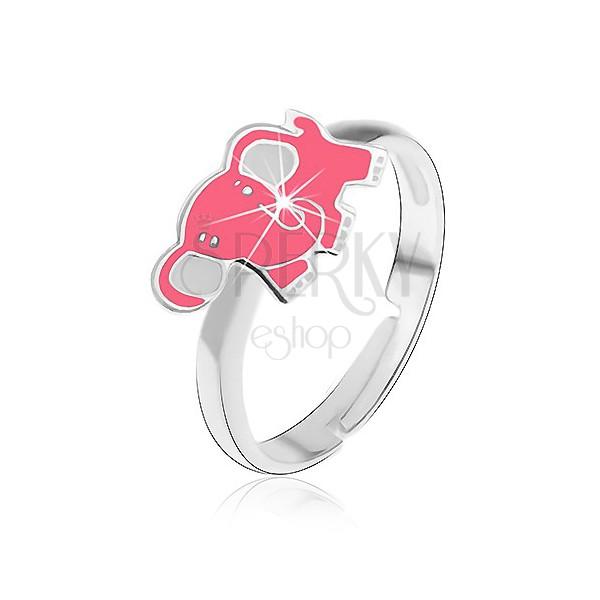 Gyermek gyűrű 925 ezüst - rózsaszín elefánt
