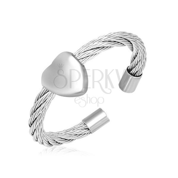 Gyűrű és szív - tekert acél kötél