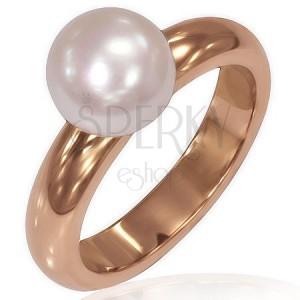 Női gyűrű acélból - rózsaszín arany felület, gyöngy