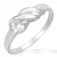 Eljegyzési gyűrű acélból - csillogó cirkónia, hullámok