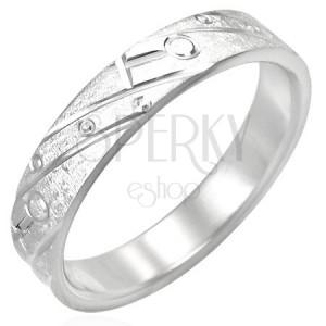 Rozsdamentes acél gyűrű - matt, gravírozott minták