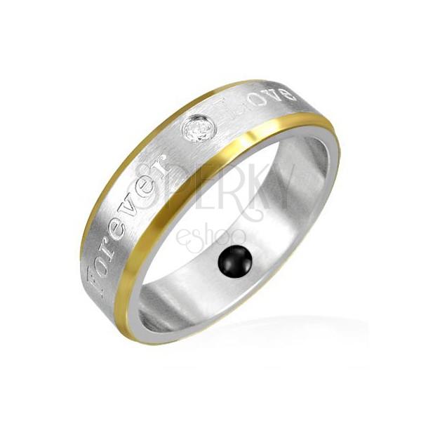Mágneses gyűrű acélból - arany szegélyek, romantikus felirat