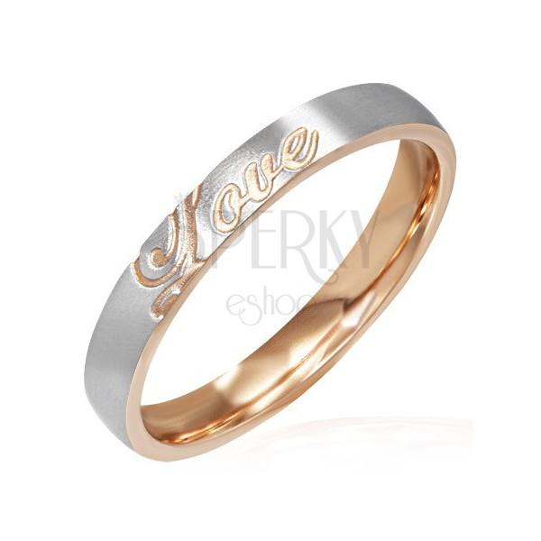 Nemesacél gyűrű - bronz és ezüst, Love