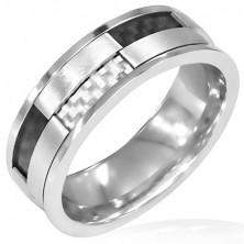 Forgatható gyűrű acélból - fekete és fehér karbonszál