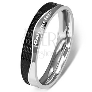 Nemesacél gyűrű - ezüst és fekete, hullám mintázat