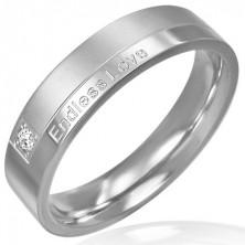 Gyűrű acélből - modern dizájn, romantikus felirat