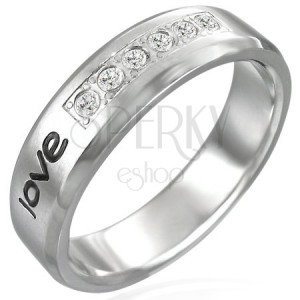Nemesacél gyűrű - love felirat, hat cirkónia