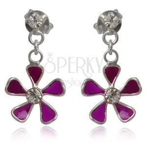 Ezüst 925 fülbevaló - függő lila virág