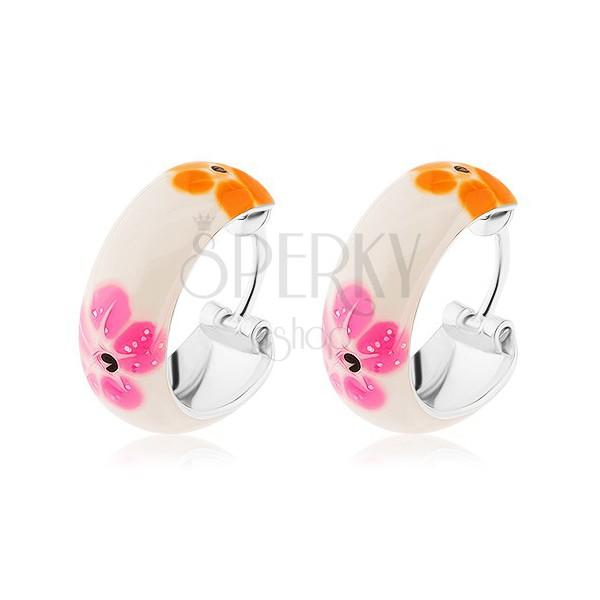 Ezüst 925 karika fülbevaló - fehér, színes virágok