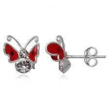 Fülbevaló 925-ös ezüstből - piros pillangó, cirkónia