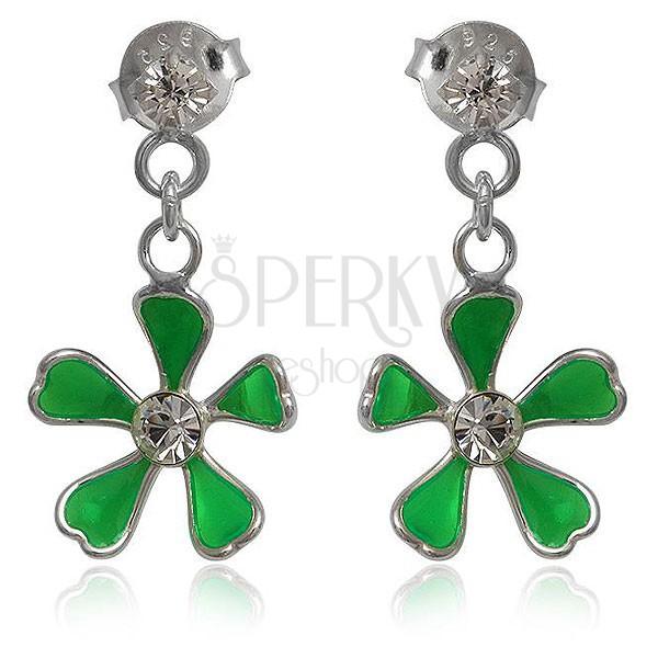 Ezüst 925 fülbevaló - függő zöld virág