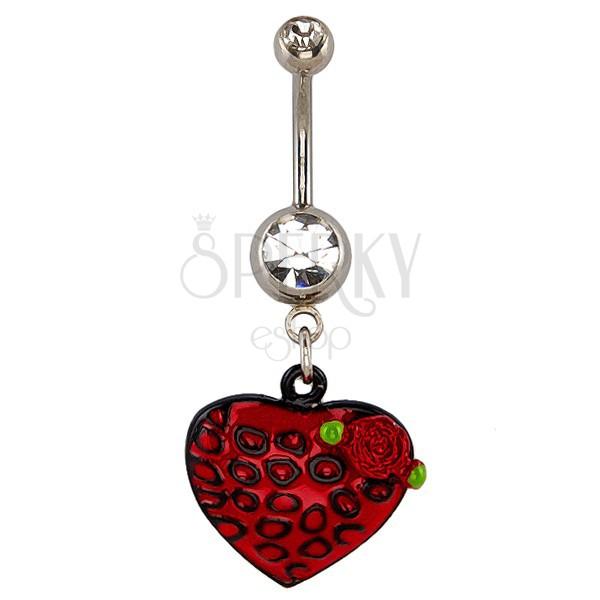 Köldök piercing - szív és vörös rózsa