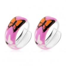 Sterling ezüst fülbevaló - rózsaszín karika, narancs pillangó