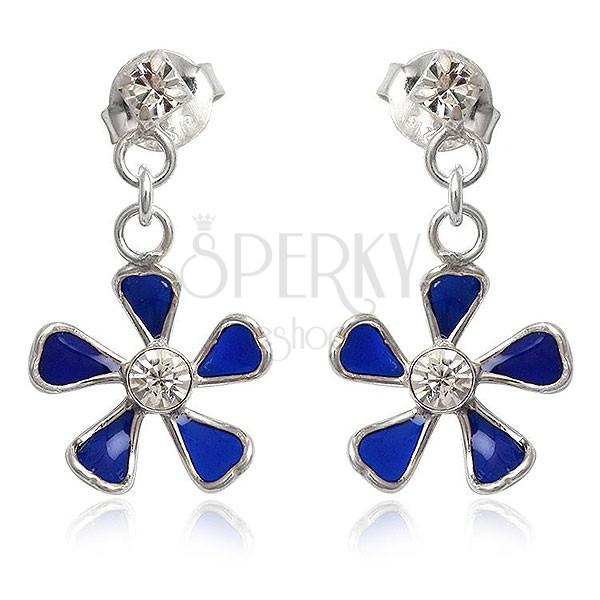 Ezüst 925 fülbevaló - függő kék virág