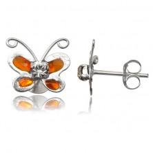 Ezüst fülbevaló, 925 - narancssárga pillangó