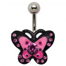 Köldök piercing - rózsaszín pillangó fekete szegéllyel, cirkóniák