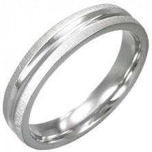 Gyűrű sebészeti acélból - fényes középső rész, csiszolt szélek