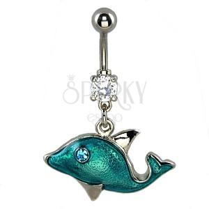 Köldök ékszer - tengerkék delfin, cirkónia szem