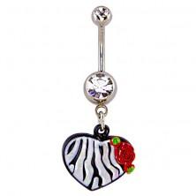 Köldökpiercing - zebracsíkos szív és rózsa