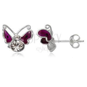 Ezüst 925 fülbevaló - lepke lila szárnyakkal és fekete pötyökkel