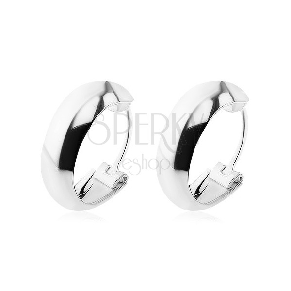 Ezüst 925 fülbevaló - egyszerű sima karika, 14 mm