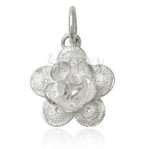 925 ezüst medál - filigrán nyíló virág