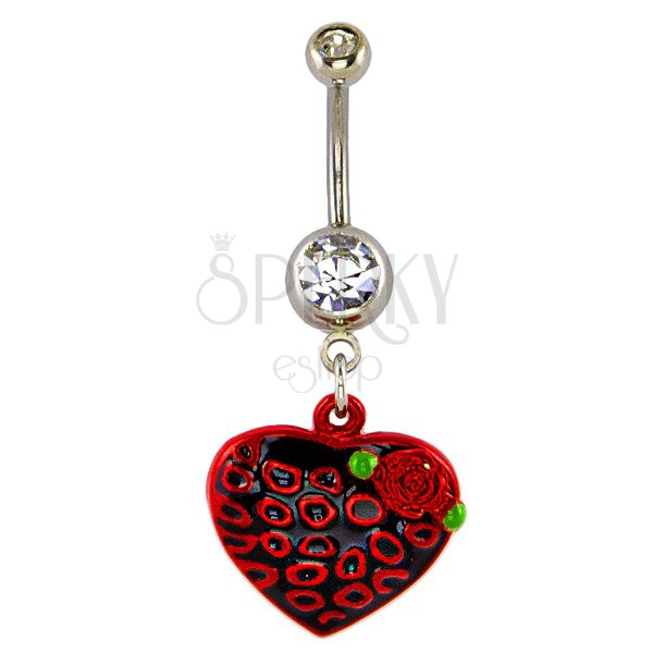 Köldök piercing - fekete szív és vörös rózsa