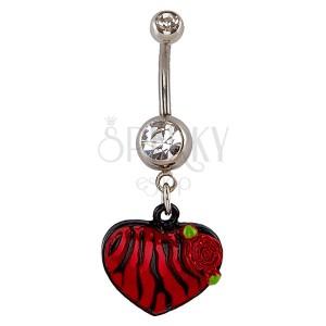 Piercing a köldökbe - szív, fekete és piros zebraminta, rózsa