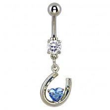 Köldök piercing - fényes patkó, kék cirkóniaszív