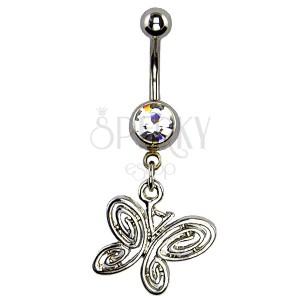 Piercing a köldökbe - spirálos pillangó, ezüst szín