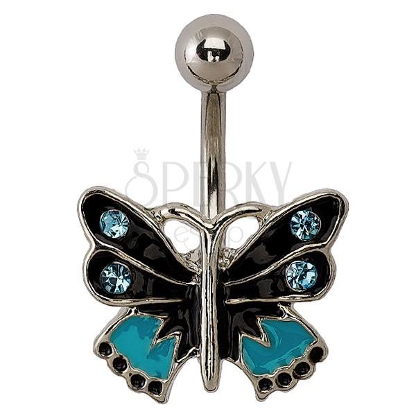 Lepke piercing - fekete, kék és ezüst kombináció, cirkóniák