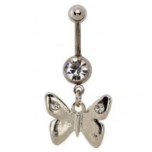 Kökdökékszer - fényes, sima pillangó, szárnyán két cirkonkővel