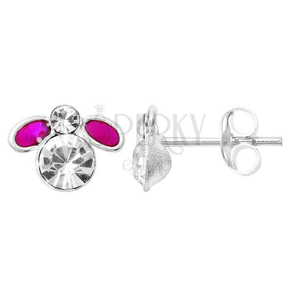 Ezüst fülbevaló - lila muslinca cirkonkő testtel