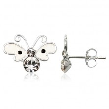 Ezüst fülbevaló 925 - vajszínű pöttyös pillangó
